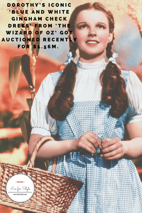 Dorothy's iconic 'Blue and White Gingham Check dress' from 'The Wizard of Oz' got auctioned recently for $1.56m. (Dorothy Gale image credit)