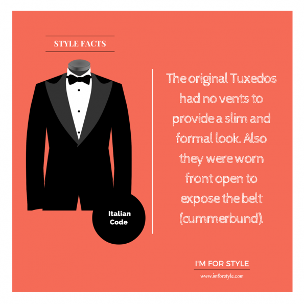Tuxedo facts, The original Tuxedos had no vents to provide a slim and formal look. Also they were worn front open to expose the belt (cummerbund).