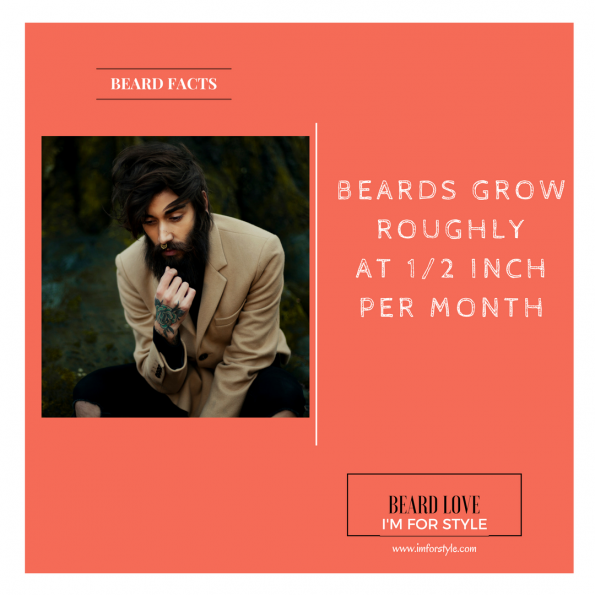 BEARDS GROW ROUGHLY AT 1/2 INCH PER MONTH, Beard Facts, Movember, moustache, imforstyle, beards, men style, men style blog, grooming, hairstyles, aanchal prabhakar, menhairstyle, style evolution, men looks, beauty, bearded man, beard love, style, facts, did you know