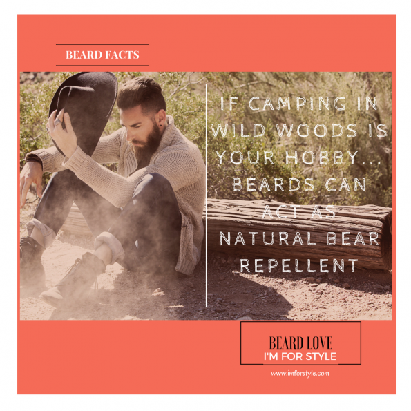 IF CAMPING IN WILD WOODS IS YOUR HOBBY... BEARDS CAN ACT AS NATURAL BEAR REPELLENT, Beard Facts, Movember, moustache, imforstyle, beards, men style, men style blog, grooming, hairstyles, aanchal prabhakar, menhairstyle, style evolution, men looks, beauty, bearded man, beard love, style, facts, did you know
